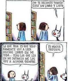 ¡Nada de presiones! Leer ha de ser sinónimo de disfrutar. Muy fans de Enriqueta y Fellini... Muy fans de Liniers :-) #BibUpo