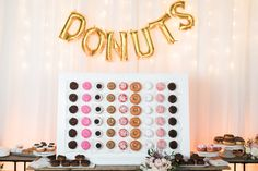 Photography - Brett Hickman // Wedding Planner + Designer - Events by Robin // Florals - The Bloom of Time // Venue - Seven4one // Vintage Rentals - Found // Rentals - Signature Party Rentals // Donuts - Lavish Candy // Balloons - Balloonzilla