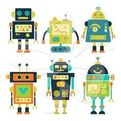 Cute Robots Digital Clip Art Clipart Set 2  by CollectiveCreation, $4.00