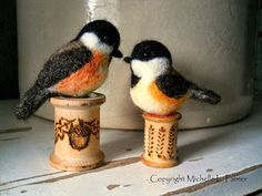 Michelle Palmer chickadee pair needle felted