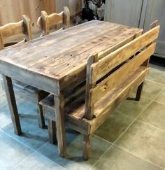 Child size farmhouse table, chairs and bench I built from reclaimed wood.