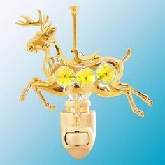 24k Gold Carousel Reindeer Night Light - Yellow Swarovski Crystal ** Click on the image for additional details. (This is an affiliate link and I receive a commission for the sales)