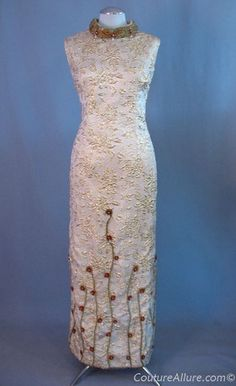 1960s gold brocade beaded evening gown