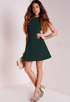 Textured Neoprene Cut Out Skater Dress Khaki - Dresses - Day Dresses - Skater Dresses - missguided