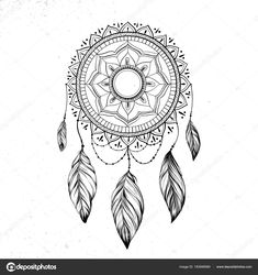 Dreamcatcher with feathers — Stock Vector © Liubou Dream Catcher Native American, Native American Art, Dream Catcher Sketch, Feather Dream Catcher, Dream Catchers, Feather Vector, Pattern Coloring Pages, Vector Hand, Zentangle Patterns