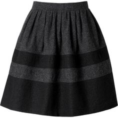 Burberry Brit Wool Skater Skirt (4,950 MXN) ❤ liked on Polyvore featuring skirts, bottoms, jupes, faldas, grey wool skirt, pocket skirt, grey skater skirt, striped skater skirt and wool skater skirt
