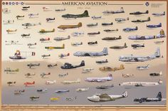 Early American Aviation 1904-1945 Airplanes Education Poster 24x36 – BananaRoad