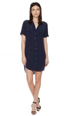 SHORT SLEEVE SLIM SIGNATURE DRESS - PEACOAT