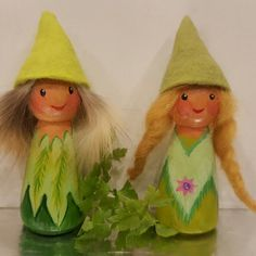 Two lovely lady elves....now ready for a good home. Only on Etsy!
