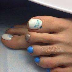 @pelikh_Идеи дизайна ногтей - фото,видео,уроки,маникюр! Nail Designs 2017, Cute Nail Art Designs, Pedicure Designs, Pedicure Nail Art, Fall Toe Nails, Pretty Toe Nails, Summer Toe Nails, Toe Nail Color, Toe Nail Art