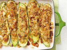 Sausage-Stuffed Zucchini Boats Recipe from Food Network Magazine - July August 2019 Baked Zucchini Boats, Zucchini Boat Recipes, Bake Zucchini, Sausage Stuffed Zucchini, Stuffed Zucchini Recipes, Stuffed Squash, Zucchini Noodles, Hot Sausage, Sweet Italian Sausage