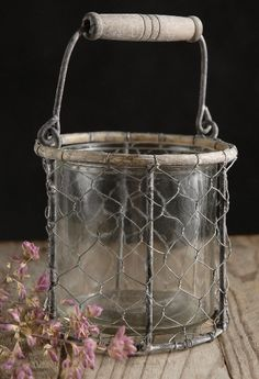 rustic basket - made of chicken wire wrap mason jars with a wire handle for candles/flowers/pencils LOVE
