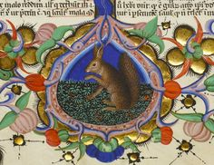 squirrel on the border Nicolaus de Lyra super Bibliam, Italy ca. 1402 (Manchester, John Rylands University Library, Latin MS 29, fol. 280r)