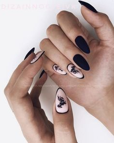 36 Perfect and Outstanding Nail Designs for Winter dark color nails; nude and sparkle nails; Dark Grey Nails, Dark Color Nails, Black Nails, Nail Colors, Black Almond Nails, Almond Nail Art, Almond Shape Nails, Classy Nail Designs, Winter Nail Designs