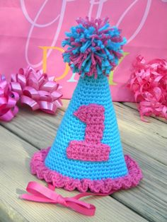 Baby Girl's 1st Birthday Crocheted Party Hat by GetTheeToAYarnery
