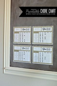 FREE Printable Chore Chart - The Vintage Mother, can use chart for anything, behavior, etc