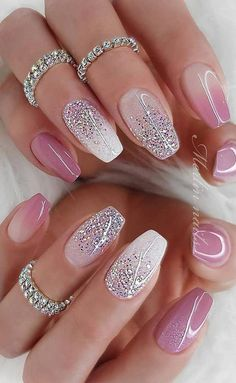 Deluxe Nail Care Kit Fall Sparkly Nails Pink und Silber bis Nail Care Tipps In M. - Deluxe Nail Care Kit Fall Sparkly Nails Pink und Silber bis Nail Care Tipps In Mal . Summer Acrylic Nails, Best Acrylic Nails, Acrylic Nail Designs, Nail Art Designs, Sparkly Nail Designs, Fancy Nails Designs, Cute Summer Nails, Cute Nails, Pretty Nails