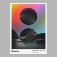 AIC: Norðurljós - Art & Design by D. Fake with gradients multicolor background. Psychedelic and oniric poster. Graphic Design Posters, Graphic Design Illustration, Graphic Design Inspiration, Typography Design, Poster Designs, Shape Posters, Web Design, Creative Design, Design Trends