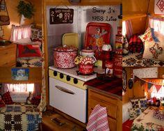 The interior of my 1958 Leino camping trailer. Just began my glamping adventure. WoooHooooo.  Shery J