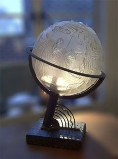 225 Marius Sabino, Art Deco Whimsical World  Globe Lamp