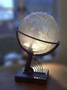 225 Marius Sabino, Art Deco Whimsical World  Globe Lamp