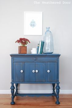 The Weathered Door: Before & After: Soldier Blue Talking Machine Cabinet Blue Painted Furniture, Chalk Paint Furniture, White Furniture, Cheap Furniture, Discount Furniture, Furniture Projects, Painted Buffet, Furniture Refinishing, Furniture Redo