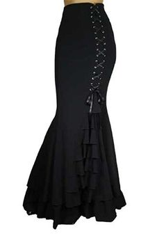 CS -Rainy Night in London- Victorian Gothic Ruffle Steampunk Vintage Style Skirt (P18, Black) at Amazon Women's Clothing store: