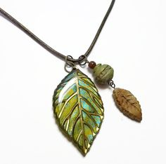 Olive Green Leaf Pendant Necklace handmade jewelry by BeadazzleMe, $20.00