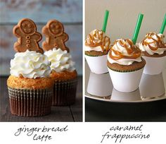 Easy enough to do, pretty cupcake and some of those Pepperidge Farm Gingerbread Cookies on top and on the right drizzle caramel sauce in a swirl and add cut up green straws to the cupcake!