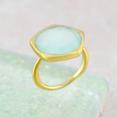 Embers Gemstone Jewellery Aqua Chalcedony Gold Semi Precious Ring