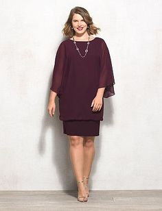 040d7cb2f31 Plus Size Chiffon Overlay Blouson Dress