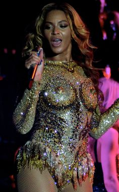"""""""Nip slip? Nope. Beyoncés dazzling one-piece by The Blondes purposefully leaves little to the imagination."""""""