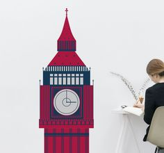 Beautiful illustration of the clock tower, otherwise known as Big Ben that is situated in the Palace of Westminster in London. Decorate your home with this sticker of one of the most famous British landmarks and create a cool and cultural atmosphere. Give your décor an up to date look with this decal of a monument that is recognised around the world. #BigBen #London #WallSticker
