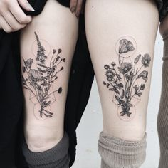 Delicate geometric flowers/floral design - tattoo