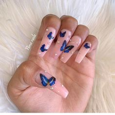 In seek out some nail designs and some ideas for your nails? Here is our listing of must-try coffin acrylic nails for cool women. Dope Nails, Fun Nails, Aycrlic Nails, Coffin Nails, Polish Nails, Glitter Nails, Claw Nails, Butterfly Nail, Trim Nails