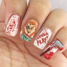 Who needs a costume when you have this horrifying Chucky nail art?