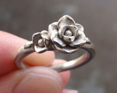 White Gold Magnolia Ring - Sample SALE (Sizes 6.75 to 7.25) - Handsculpted and Cast in Solid 14K White Gold by jennykim on Etsy https://www.etsy.com/listing/178077487/white-gold-magnolia-ring-sample-sale