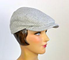 Driving Cap in Vintage Gray Wool  Men's Flat Cap  by HatsWithAPast