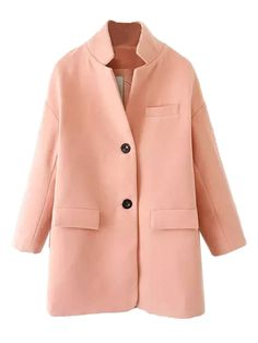 Peach Longline Woolen Coat by: Choies