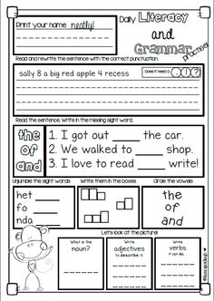 Literacy, grammar and sight word daily practice. Perfect for first and second grade.