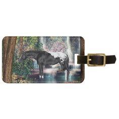 Black Appaloosa Horse Waterfall Print Bag Tag