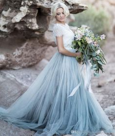 Light Blue Wedding Gowns White Lace Sheer Detachable Jacket Crop Top Short Sleeves Tulle A Line Two Toned Country Bridal Dresses Colored Vintage Wedding Dress Wedding Dresses With Sleeves From Nameilishawedding, $140.71  Dhgate.Com