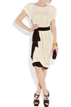 VIONNET Linen and silk-chiffon dress