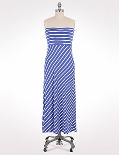 Convertible Striped Maxi Dress | Dressbarn with a boat neck and short sleeves and white jacket