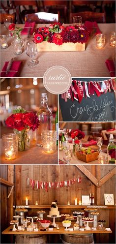 I like the mason jar candles and bottle centerpieces. Also, the cake table. Are you having a cake and cupcakes? We could use the old white table and set up vintage cake plates something like this.