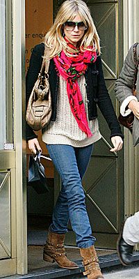 Sienna Miller wearing Russell & Bromley Studded Boots, Louis Vuitton Roses Stole in Fuchsia and Yves Saint Laurent Rive Gauche Bag in Ostrich.