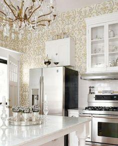 white kitchen, wallpaper, vintage chandelier