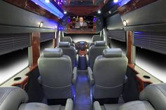 Executive Sprinter Van Seats 10 Passengers, Luggage Capacity 10, Black Exterior and Leather Interior Forward Facing Captain Chairs with Armrests. LCD TV, Entertainment System, Ice Chest
