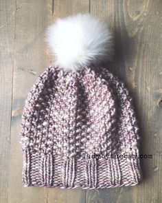 Seed/Moss Stitch Knitted Hat Pattern #fave