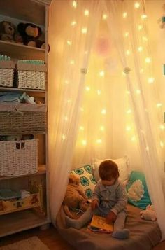 This cozy reading nook can be created in any small kid's room. Girls Bedroom, Bedroom Decor, Playroom Decor, Kids Decor, Princess Room, Little Girl Rooms, New Room, Kids Room, Homes